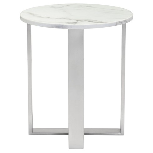 Modern Round Faux Marble Side Table Stone Brushed Stainless Steel