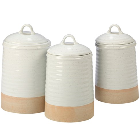 Certified International Artisan Ceramic Food Storage Canisters White/Brown - Set of 3 - image 1 of 2