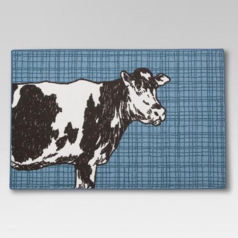 Blue Cow Kitchen Floor Mat Rug 2\'6\