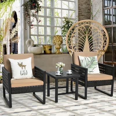 Costway 3PCS Patio Rattan Bistro Furniture Set Cushioned Sofa Chair Coffee Table Garden