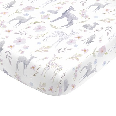 NoJo Super Soft Floral Deer Nursery Mini Crib Fitted Sheet