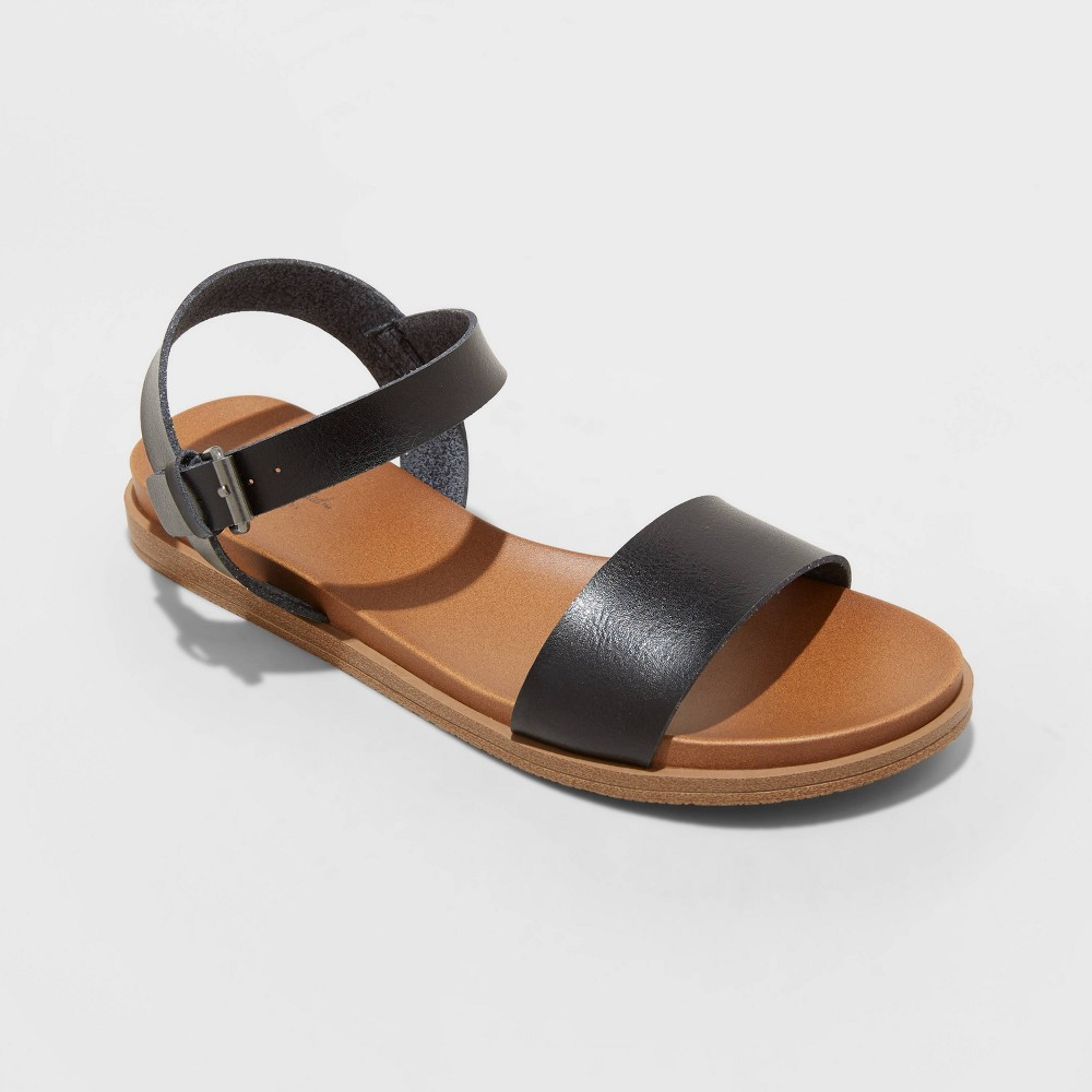 Women 39 S Nyla Wide Width Ankle Strap Sandals Universal Thread 8482 Black 6w