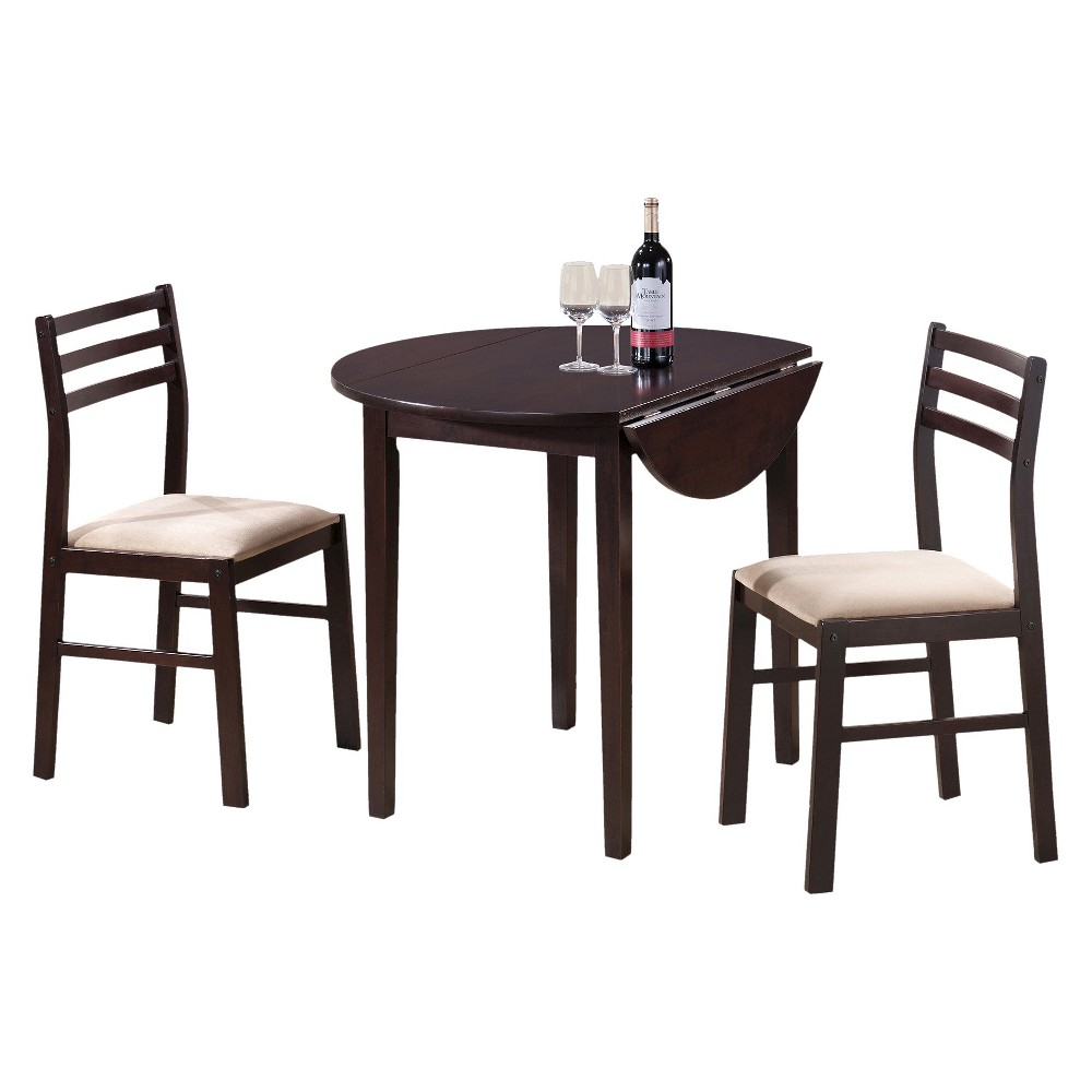 Set of 3 Dining Table and Chairs Brown - EveryRoom Price