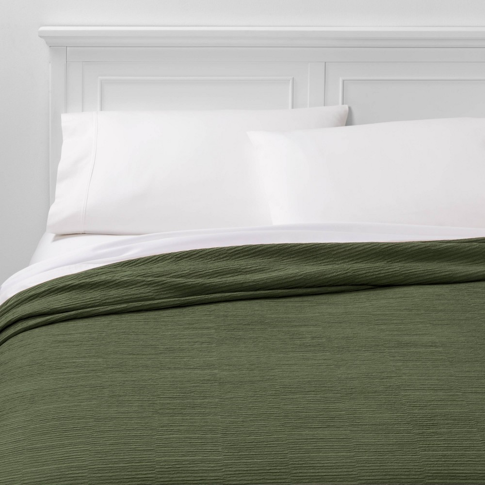 Image of California King Textural Stripe Coverlet Olive - Project 62 + Nate Berkus , Green