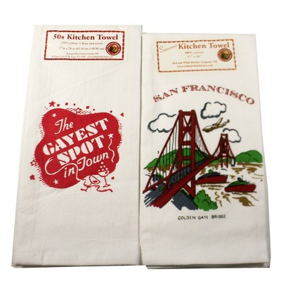"""Tabletop 24.0"""" San Francisco The Gayest Spot Flour Kitchen Towel Red And White Kitchen Company  -  Kitchen Towel"""