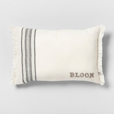 Bloom Reversible Throw Pillow Stripe Cream / Gray - Hearth & Hand™ with Magnolia