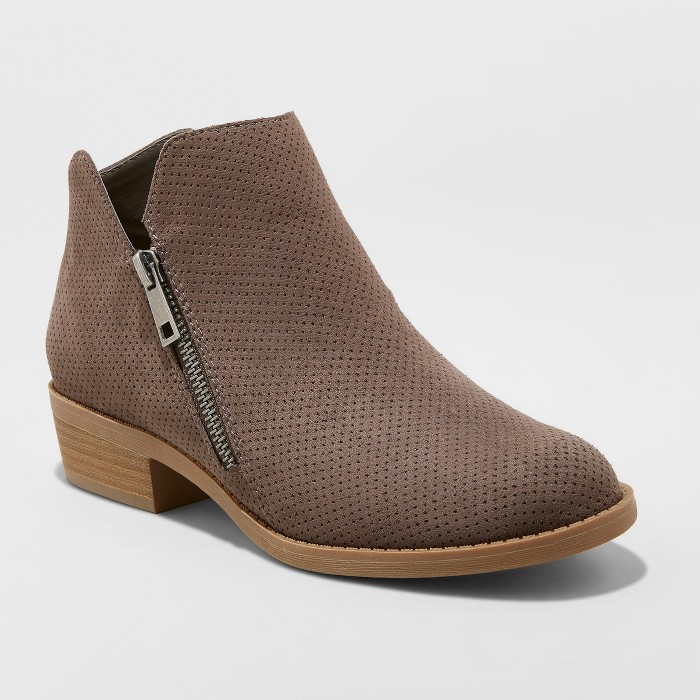 Women's Dylan MicroSuede Perforation Zipper Bootie - Universal Thread™ - image 1 of 4