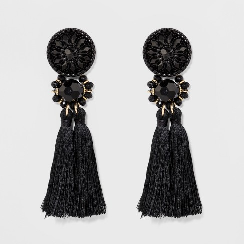 Fashion Drop Earring with Tassel - Black - image 1 of 2