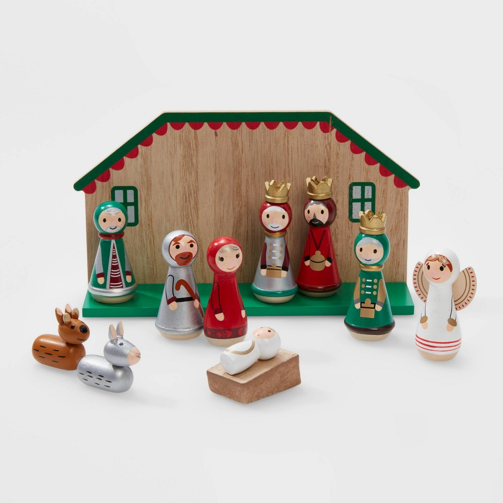 Image of 11pc Round People Nativity Christmas Decorative Figurine Set Red - Wondershop