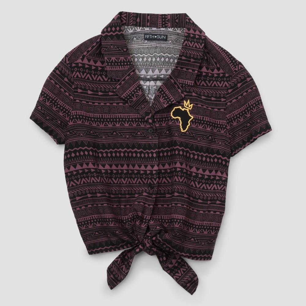 Plus Size Women's Plus Short Sleeve Africa Tie Front Woven T-Shirt - Black 2X