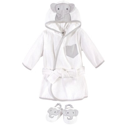 Hudson Baby Infant Cotton Animal Face Bathrobe and Slippers 2pc, Modern Elephant, 0-9 Months
