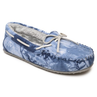 Minnetonka Women's Textile Tie Dye Carrie Slipper 44674, Navy Multi Blue - 8