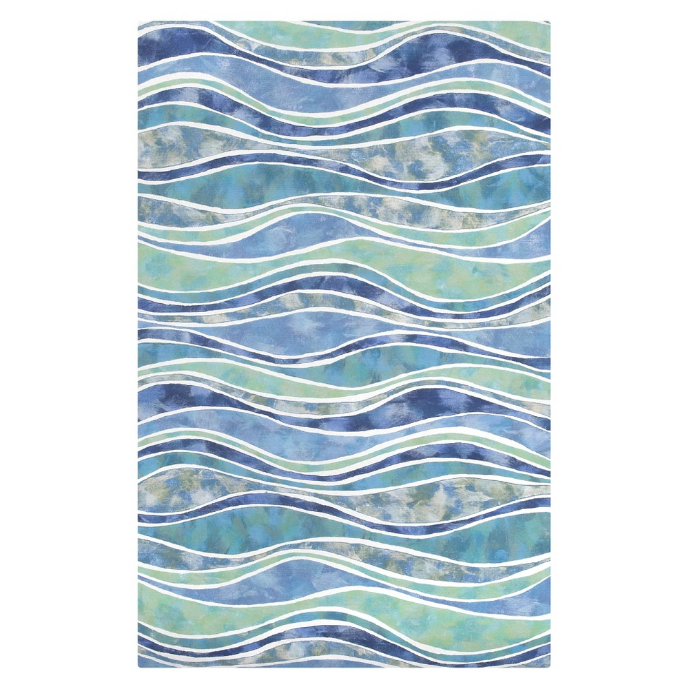 Liora Manne Visions Iii Wave Ocean Indoor/Outdoor Area Rug - blue (5'X8')