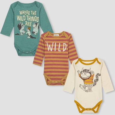 Baby Where the Wild Things Are 3pk Long Sleeve Bodysuits - Orange/Blue 6-9M
