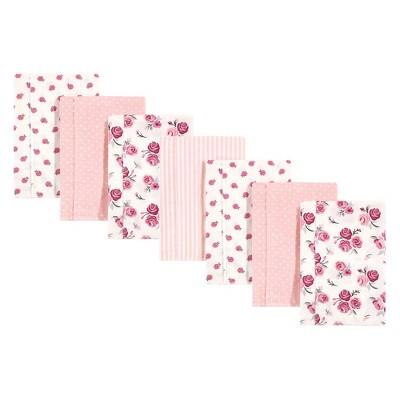 Hudson Baby Infant Girl Cotton Flannel Burp Cloths 7pk, Cream Rose, One Size
