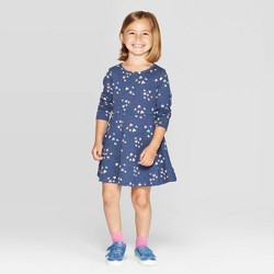Toddler Girls' Long Sleeve Heart Print Knit Dress - Cat & Jack™ Navy