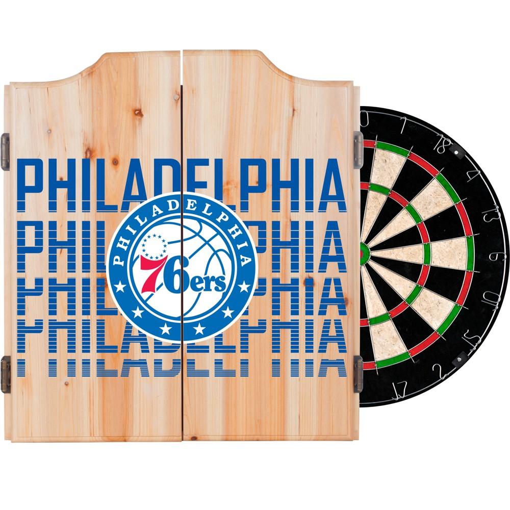 NBA Philadelphia 76ers Dart Cabinet Set with Darts and Bristle Dart Board