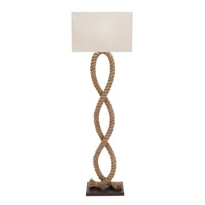"20"" x 63"" Tall Coastal Style Natural Jute Rope Floor Lamp with Rectangular Shade White - Olivia & May"