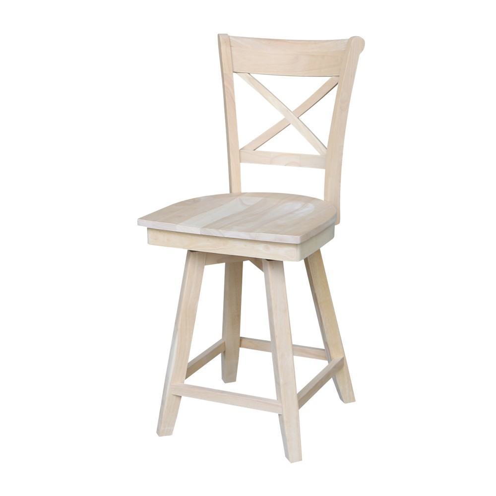 Charlotte Counter Height Stool with Swivel and Auto Return Unfinished - International Concepts, Wood