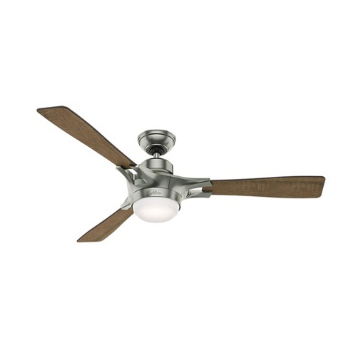 "54"" Wi-Fi Enabled HomeKit Compatible Signal Satin Nickel Ceiling Fan with Light with Integrated Control System Handheld - Hunter Fan - image 1 of 11"