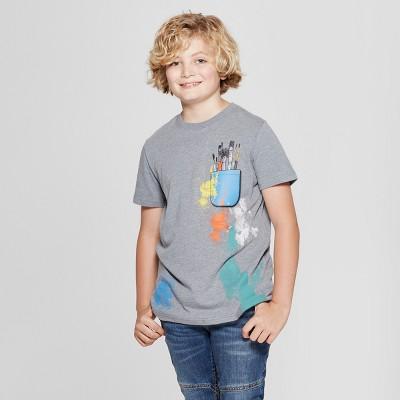 Boys' Short Sleeve Paintbrush Graphic T-Shirt - Cat & Jack™ Gray S