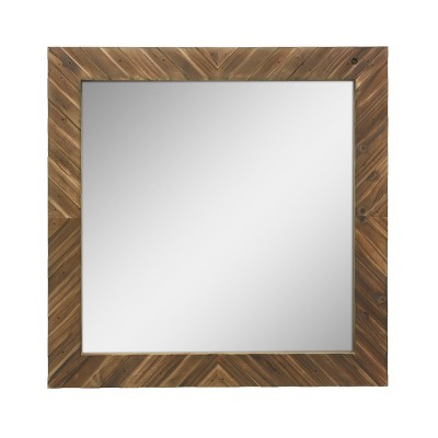 Wood Chevron Decorative Wall Mirror Brown - Stonebriar Collection