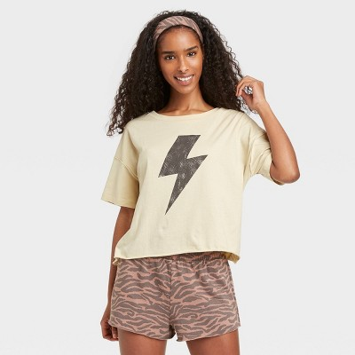 Women's Tiger Print T-Shirt and Shorts Pajama Set with Bandana - Grayson Threads Tan