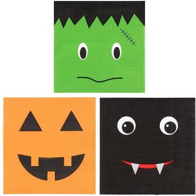 Blue Panda 150-Pack Halloween Disposable Paper Napkins Party Supplies Jack-O-Lantern Pumpkin, Bat, Frankenstein
