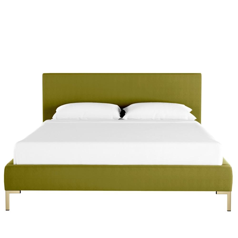 California King Platform Bed Green Velvet - Opalhouse