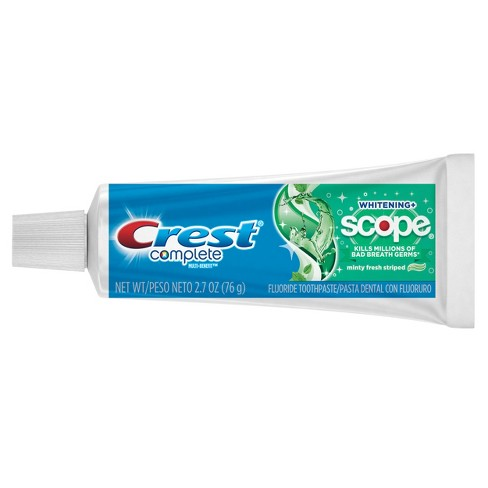 Crest Complete Whitening Plus Scope Multi-Benefit Fluoride Travel Size  Toothpaste Minty Fresh - 2 7oz