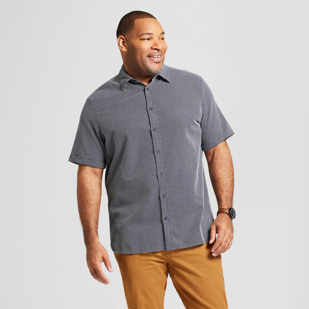 Men's Big & Tall Short Sleeve Cotton Novelty Button-Down Shirt - Goodfellow & Co Xavier Navy (Blue) 2XB