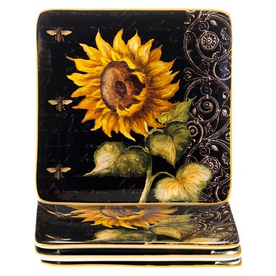 Certified International French Sunflowers Salad Plates Black - 8.25 x8.25 Set of 4