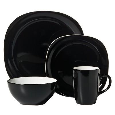 C.C.A. International Duo Quadro 16pc Dinnerware Set Black