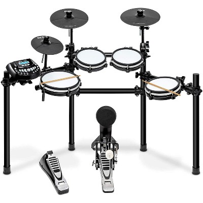 LyxJam 8-Piece Electronic Drum Kit, Professional Drum Set with Real Mesh Fabric, 448 Preloaded Sounds, 70 Songs, 15-Song Recording Capacity, Choke,Rim,Edge Capability & Kick Pad, Drum Sticks Included