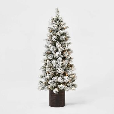 5ft Pre-lit Artificial Christmas Tree Potted Flocked Virginia Pine Clear Lights - Wondershop™