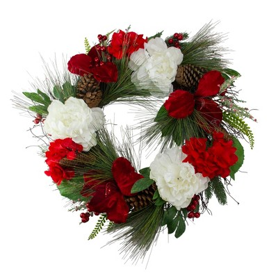 Northlight Peony and Amaryllis Twig Artificial Floral Wreath, Red 24-Inch