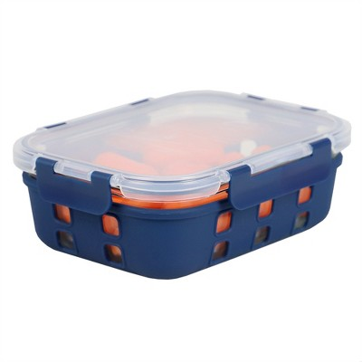 Michael Graves Design Rectangle Large 35 Ounce High Borosilicate Glass Food Storage Container with Plastic Lid, Indigo