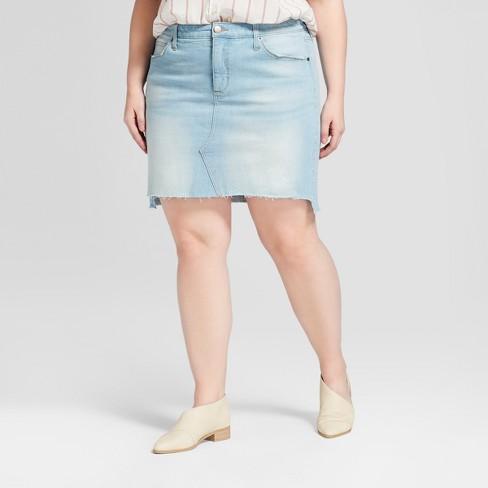 f96a9d6653 Women s Plus Size Denim Mini Skirt - Universal Thread™ Light Wash   Target