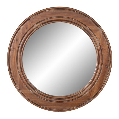 "31.5"" Reclaimed Wood Large Wall Accent Mirror Brown - Patton Wall Decor"