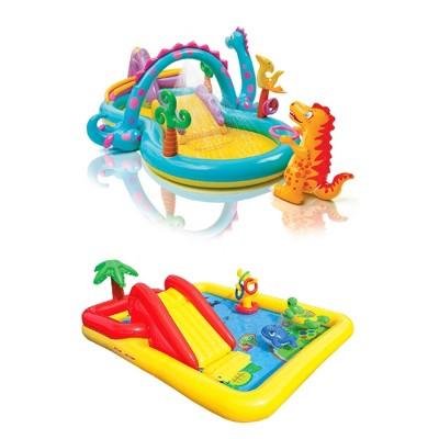 Intex Dinoland Kiddie Inflatable Pool & Inflatable Ocean Backyard Kiddie Pool