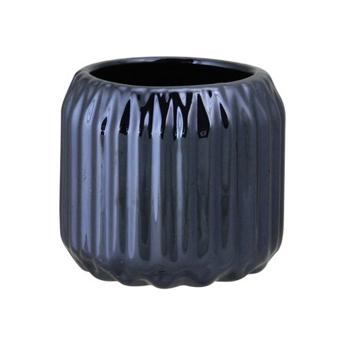 "Northlight 2.75"" Ridged Metallic Ceramic Tea Light Candle Holder - Navy Blue - image 1 of 2"