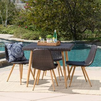 Gila 5pc Wicker Dining Set - Brown - Christopher Knight Home