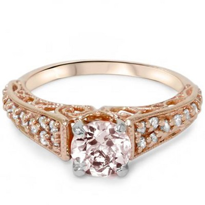 Pompeii3 1ct Morganite & Diamond Vintage Engagement Ring 14K Rose Gold