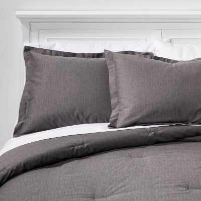 Full/Queen Family Friendly Solid Comforter & Pillow Sham Set Gray - Threshold™