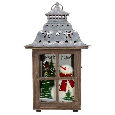 "Northlight 16.5"" Rustic Wooden Snowman Holiday Scene Christmas Pillar Candle Lantern"