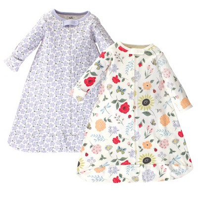 Touched by Nature Baby Girl Organic Cotton Long-Sleeve Wearable Sleeping Bag, Sack, Blanket, Flutter Garden