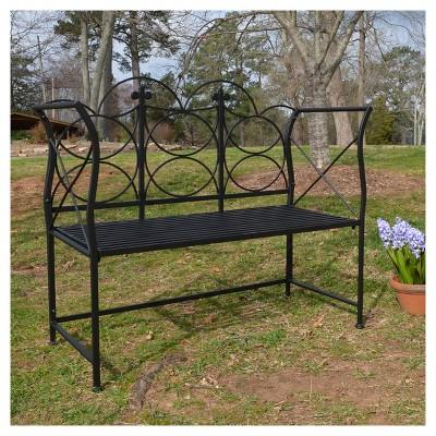 Pawley Metal Patio Bench   Black : Target