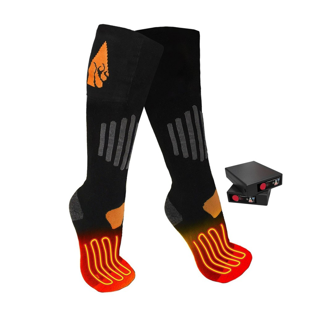 Image of ActionHeat Wool 3.7V Rechargeable Heated Socks - Black L/XL, Size: Large/XL