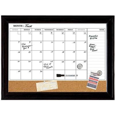 Quartet Magnetic Cork & Dry Erase Calendar Whiteboard Espresso Frame 814928