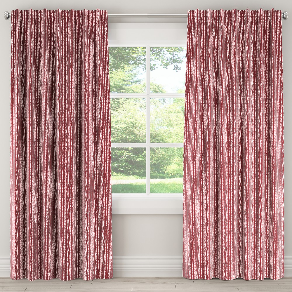 Unlined Curtain Line Dot Holiday Red 63L - Skyline Furniture